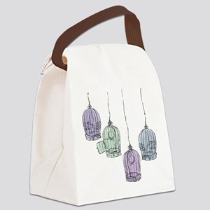 Colorful Birdcages 3 Canvas Lunch Bag