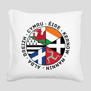 Celtic Nations Flags Black Square Canvas Pillow
