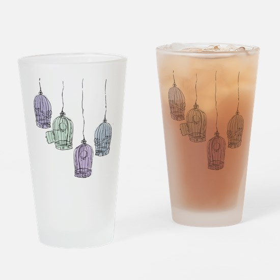 Colorful Birdcages 3 Drinking Glass