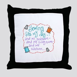 Sewing Fills My Day Throw Pillow
