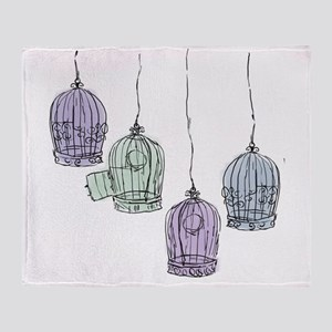 Colorful Birdcages 3 Throw Blanket