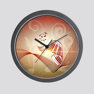 Music, curved piano keyboard Wall Clock