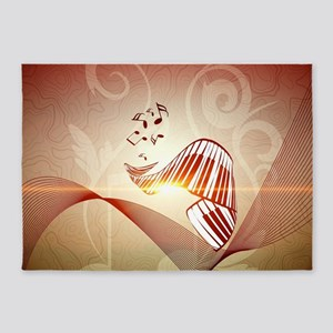 Music, curved piano keyboard 5'x7'Area Rug