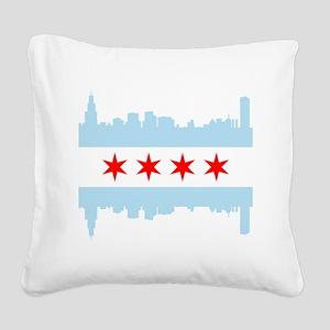 Chicago Flag Skyline Square Canvas Pillow