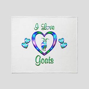 I Love Goats Throw Blanket