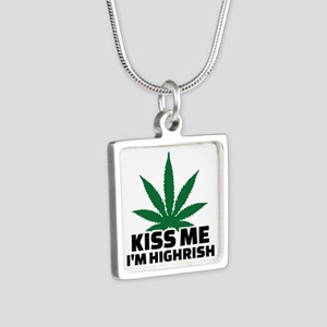 Kiss me I'm highrish Silver Square Necklace