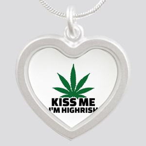 Kiss me I'm highrish Silver Heart Necklace