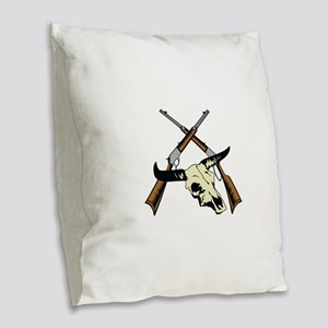 STEER SKULL AND RIFLES Burlap Throw Pillow