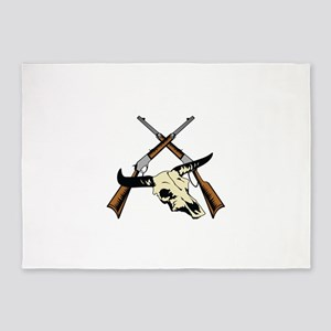 STEER SKULL AND RIFLES 5'x7'Area Rug