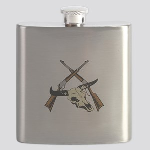 STEER SKULL AND RIFLES Flask
