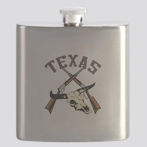 TEXAS RIFLES AND SKULL Flask
