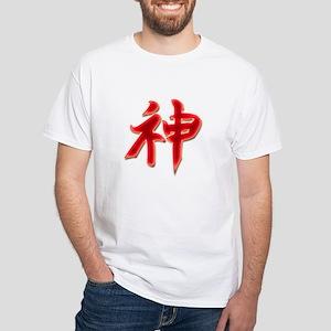 Spirit in Pure Kanji Red Edit White T-shirt