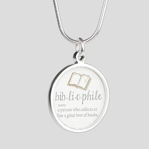 Bibliophile - Silver Round Necklace