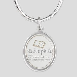Bibliophile - Silver Oval Necklace