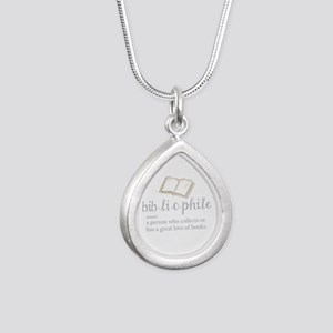 Bibliophile - Silver Teardrop Necklace