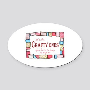 QUILTING HUMOR Oval Car Magnet