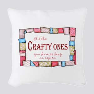 QUILTING HUMOR Woven Throw Pillow