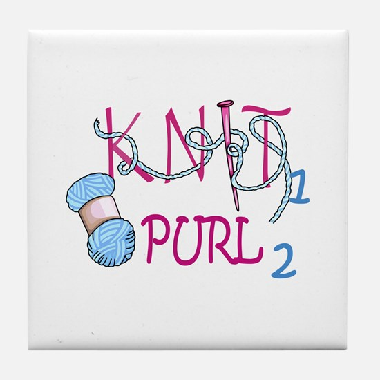 KNIT 1 PURL 2 Tile Coaster