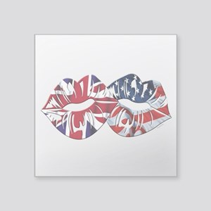 "US UK Transatlantic Kiss Square Sticker 3"" x 3"""