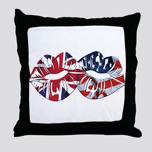 US UK Transatlantic Kiss Throw Pillow