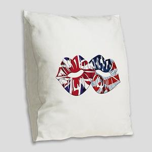 US UK Transatlantic Kiss Burlap Throw Pillow