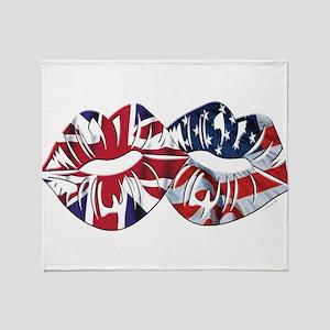 US UK Transatlantic Kiss Throw Blanket