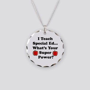 I teach special ed Necklace Circle Charm