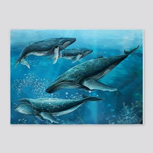 Coral Reef Whales 5'x7'Area Rug
