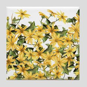 Daisy Botanical Flowers Floral Tile Coaster