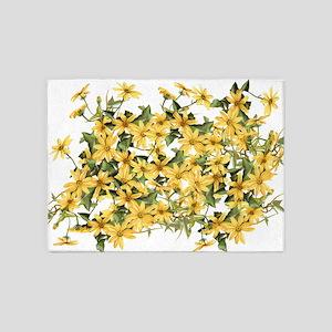 Daisy Botanical Flowers Floral 5'x7'Area Rug