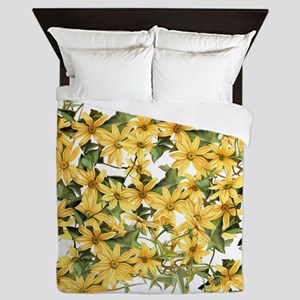 Daisy Botanical Flowers Floral Queen Duvet