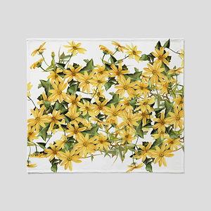 Daisy Botanical Flowers Floral Throw Blanket