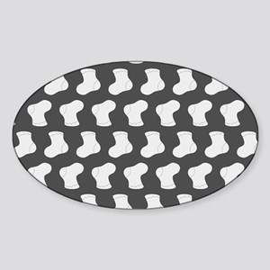 Gray and White Cute Little baby Soc Sticker (Oval)