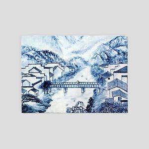 Asian pattern on porcelain 5'x7'Area Rug