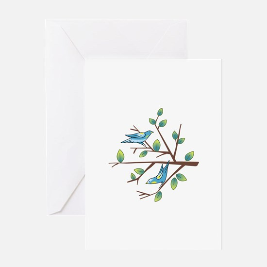 TAPESTRY BIRDS ON BRANCH Greeting Cards