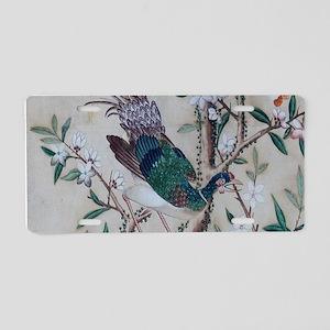 Asian pattern on wallpaper Aluminum License Plate
