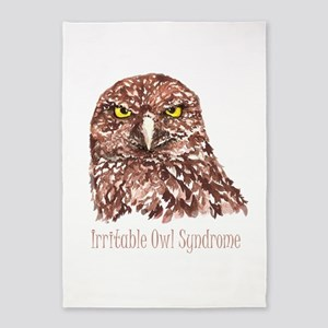 Irritable Owl Syndrome Humor Quote 5'x7'area Rug