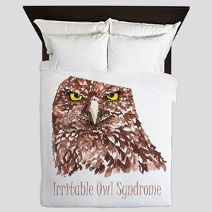 Irritable Owl Syndrome Humor Quote Queen Duvet