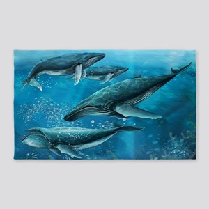 Coral Reef Whales Area Rug