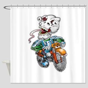 Skull-Tongued Dirtbiker Shower Curtain