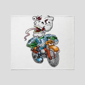 Skull-Tongued Dirtbiker Throw Blanket