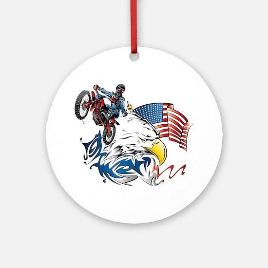 Patriotic Dirtbiker USA Ornament (Round)