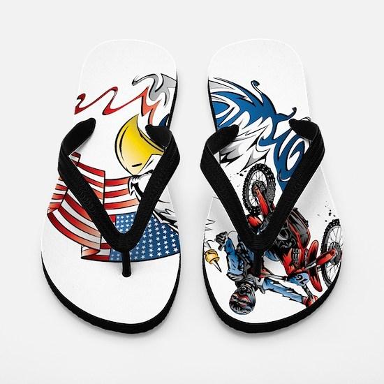 Patriotic Dirtbiker USA Flip Flops