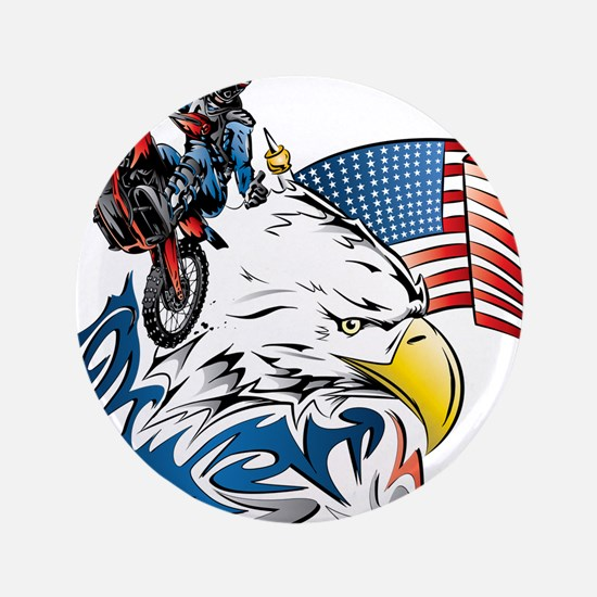 "Patriotic Dirtbiker USA 3.5"" Button (100 pack)"