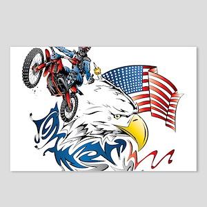 Patriotic Dirtbiker USA Postcards (Package of 8)