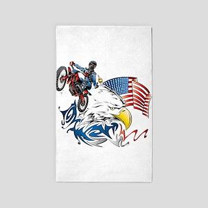 Patriotic Dirtbiker USA Area Rug