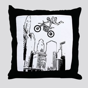 dirt biker cityscraper Throw Pillow