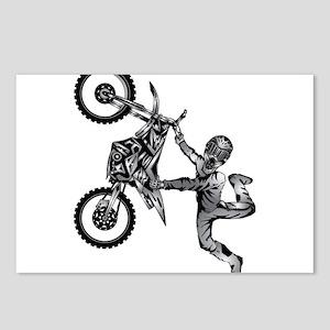 dirt-biker-motocross-freestyle-fly-grey Postcards
