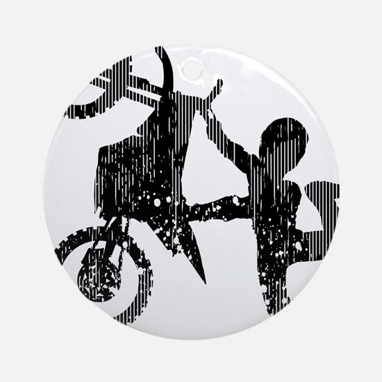 Freestyle Motocross Grunge Ornament (Round)