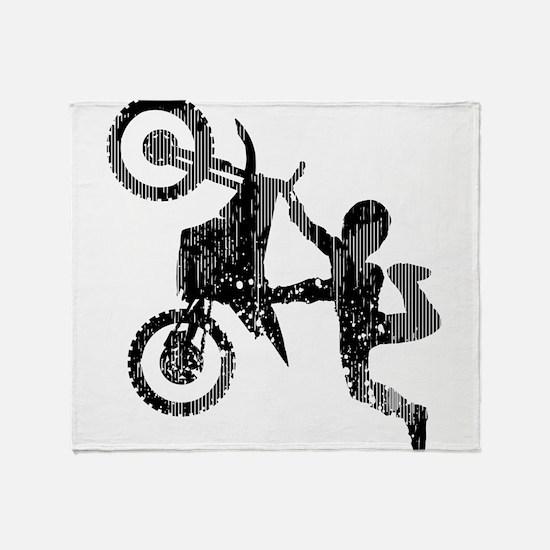 Freestyle Motocross Grunge Throw Blanket
